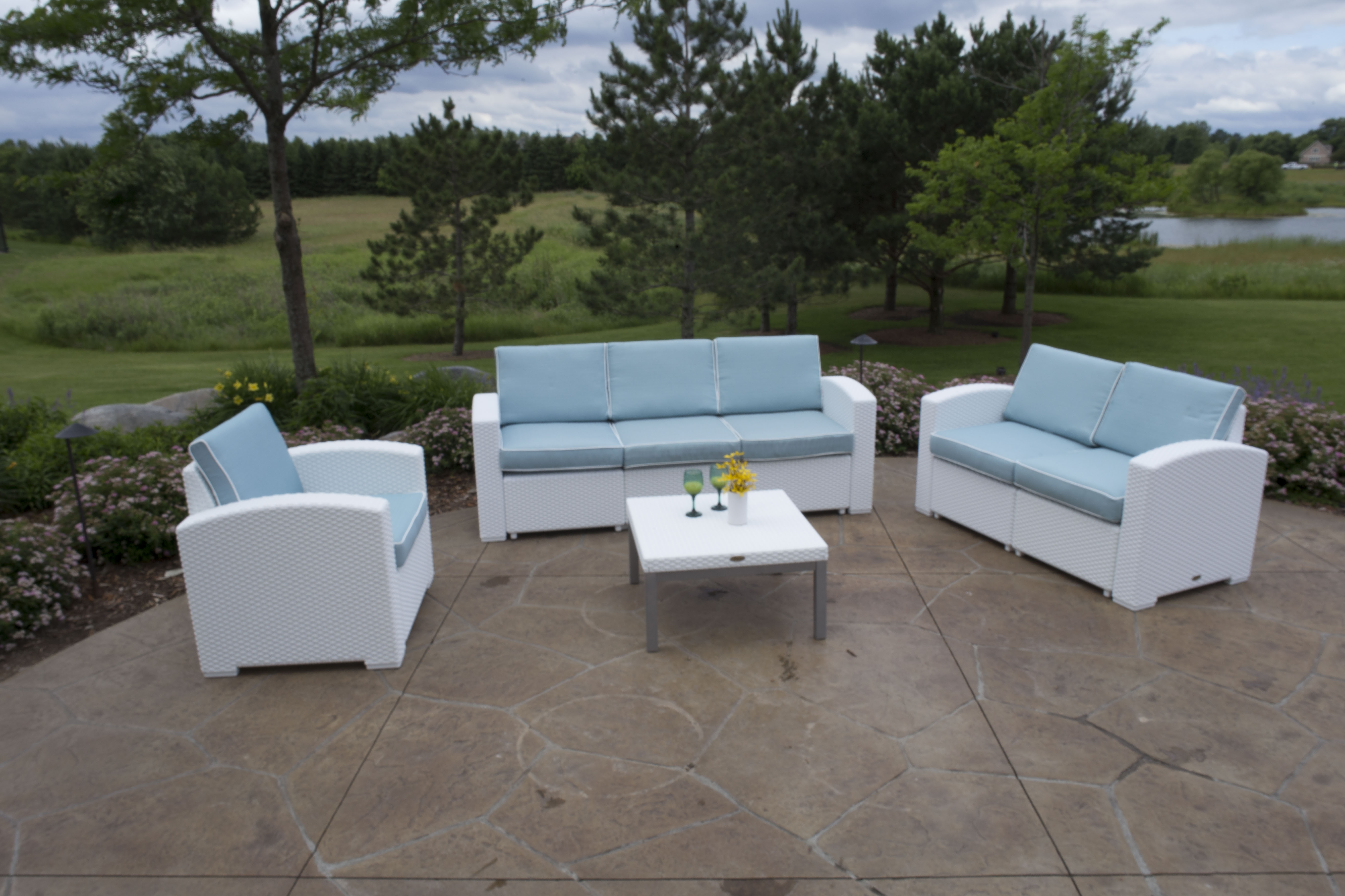 Cielo Patio Sofa Loveseat Chair & Table Package Annie s Futons