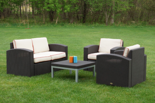 Cielo Patio Loveseat, Two Chairs & Table Package