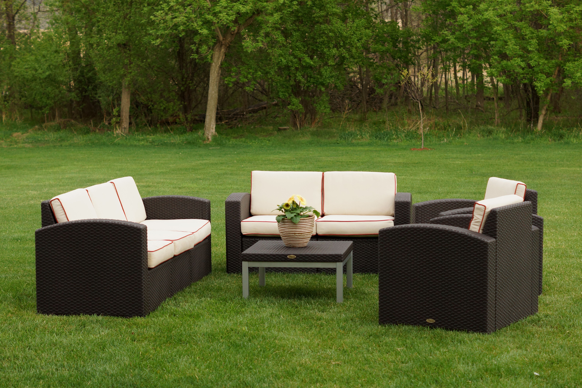 Cielo Patio Sofa Loveseat 2 Chairs & Table Package Annie s