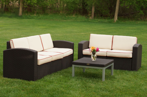 Cielo Patio Sofa, Loveseat & Table Package